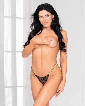 STM-11136, Black Lace G-string with Chain Detail by Seven Till Midnight