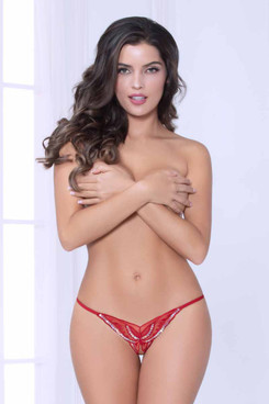 STM-10957, Red Butterfly Thong by Seven Til Midnight