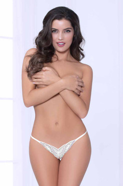STM-10957, White Butterfly Thong by Seven Til Midnight