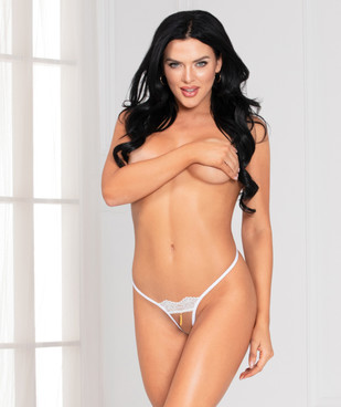 STM-11138, White G-String with Tassel by Seven Til Midnight