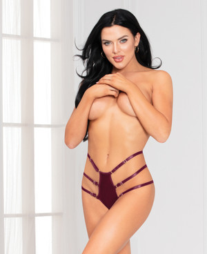 STM-11135, Wine Satin Strappy Panty by Seven Til Midnight