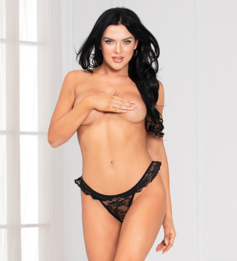 STM-11145, Black Lace Ruffle Thong by Seven Til Midnight