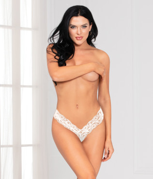 STM-11134, White Lace Open Crotch Thong by Seven Til Midnight