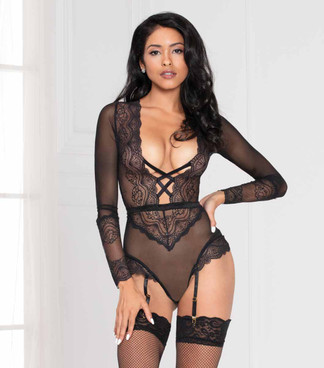 STM-11078, Black Lace Long Sleeve Teddy by Seven Til Midnight