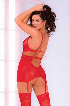 Seven Til Midnight STM-11016, Red Chemise Set back view