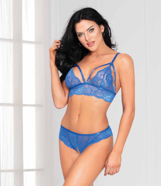STM-11073, Blue Lace Bra Set by Seven Til Midnight