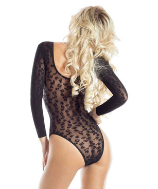 AB6082X Plus Size Leopard Bodysuit Back View