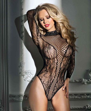 Net and Lace Bodysuit by RaveWear Lingerie AB6115
