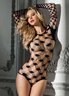 Checker Net Bodysuit by RaveWear Lingerie AB6112