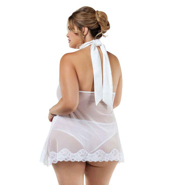 BL8010X White Sheer Babydoll Plus Size back view