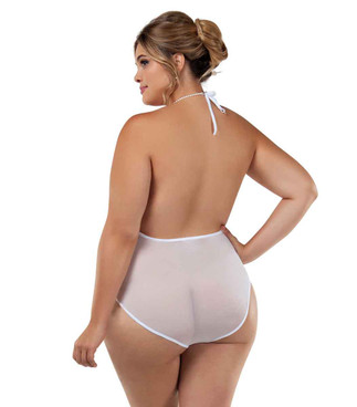 BS8027X Plus Size Lace and Sheer Bodysuit back view