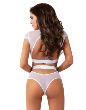 BL8016 Lace and Mesh Top with High Waist Bottom back view