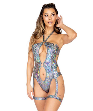 R-3815, GARTERED KEYHOLE ROMPER by Roma Costume