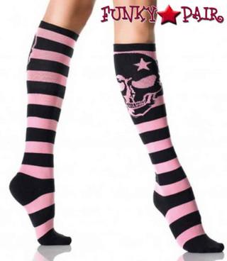 Striped Woven Skull Knee Highs | Leg Avenue LA-5573