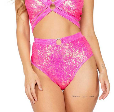 R-3809, SEQUIN HIGH WAISTED SHORT Hot Pink by Roma Costume