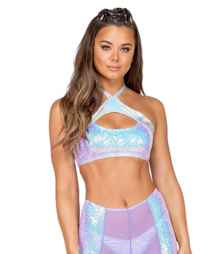 R-3848, KEYHOLE CROP TOP Baby Pink by Roma Costume