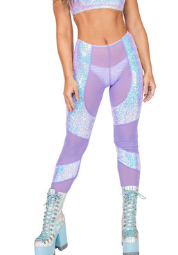 R-3803, SHEER AND SEQUIN Lavender PANTS by Roma Costume