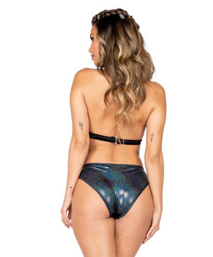 Roma R-3868, METALLIC SPOTTED VELVET CROP TOP back view