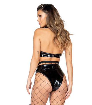 Roma R-3886, LATEX HIGH WAISTED SHORTS back view