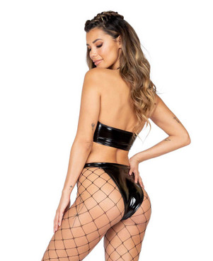 Roma R-3887, LATEX UNDERBOOB CUTOUT CROP TOP back view