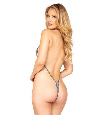 Roma R-3901, HIGH RISE  THONG ROMPER back view