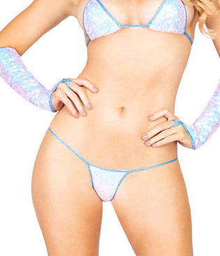 R-3907, SEQUIN G-STRING BOTTOMS Light Blue by Roma Costume