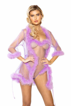 R-LI386, Sheer Marabou Robe by Roma Costume