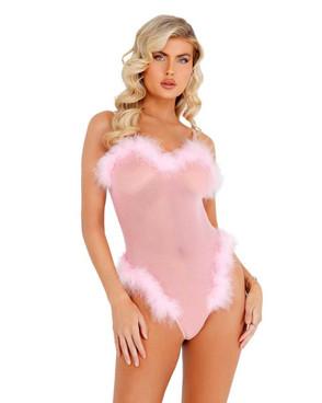 Roma   R-LI387, Baby Pink Sheer Marabou Teddy