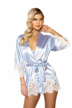 R-LI395, Eyelash Lace & Satin Robe by Roma Costume