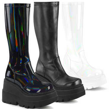 Shaker-65, Wedge Knee High Boots  color Black Hologram by Demonia