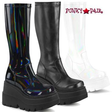 Demonia | Shaker-65, Wedge Knee High Boots  color Black Hologram