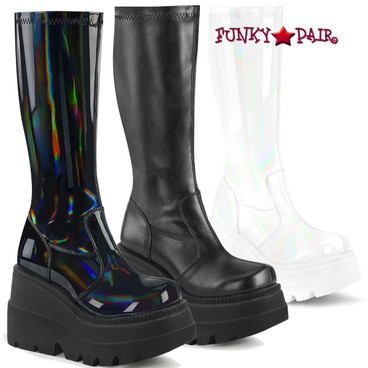 Demonia | Shaker-65, Wedge Knee High Boots  color Black Hologram