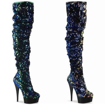 Delight-3004, Sequin Platform Over the Knee Boots by Pleaser