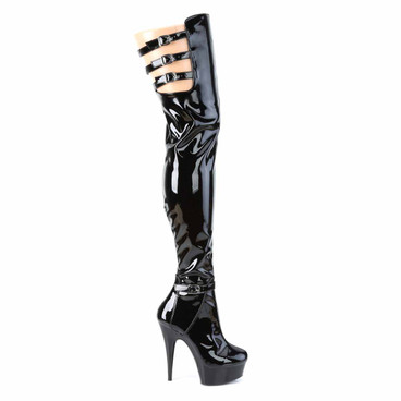 Delight-3055, Triple Buckles Strap Thigh High Boots by Pleaser Side View