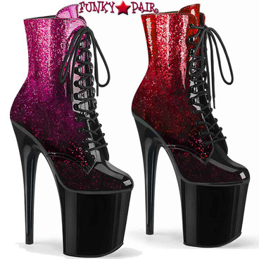 Pleaser | Flamingo-1020OMB, Ankle Boots with Ombre Effect