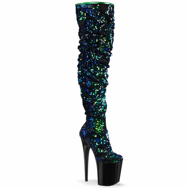 Flamingo-3004, 8 Inch Over-The-Knee Green Slouch Boots by Pleaser