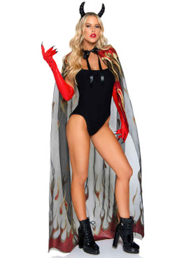 LA2763, Glitter Flame Devil Cape by Leg Avenue