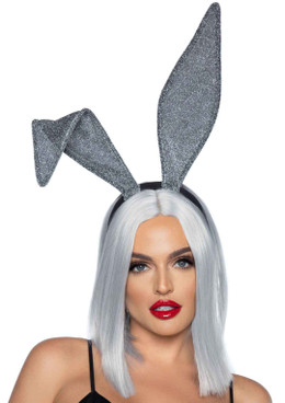 LA2770, Silver Glitter Bunny Ear Headband by Leg Avenue