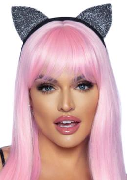 LA2771, Silver Glitter Cat Ear Headband