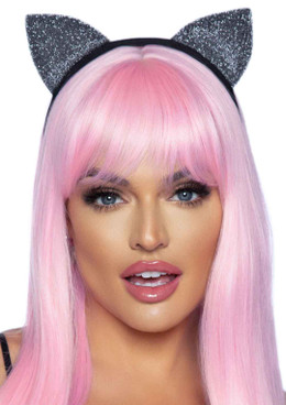 LA2771, Silver Glitter Cat Ear Headband