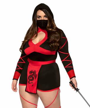 LA-85401X, Plus Size Dragon Ninja Costume by Leg Avenue
