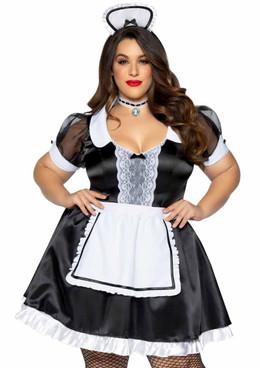 LA-86922X, Plus Size Classic French Maid Costume by Leg Avenue
