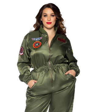 TG86931X, Plus Size Top Gun Parachute Flight Suit by Leg Avenue