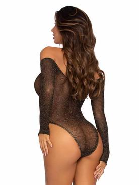 LA89274, Lurex Shimmer Fishnet Bodysuit back view by Leg Avenue