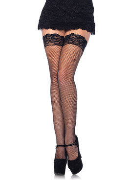 9035Q, Plus Size Black Fishnet Stocking with Silicone Lace Top by Leg Avenue
