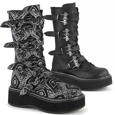 Emily-322, Bat Buckles Mid Calf Boots by Demonia