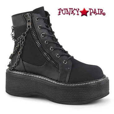 Demonia | Emily-114 Women's Lace-up Bootie with Chain Detail