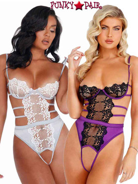 Roma LI405, Embroidered Lace and Satin Crotchless Teddy