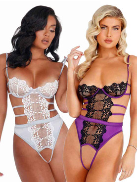 LI405, Embroidered Lace and Satin Crotchless Teddy by Roma