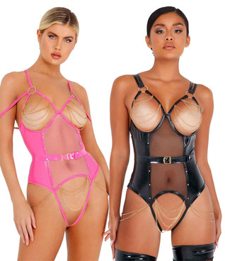 LI436, Vinyl Bodysuit with Chain Detail by Roma